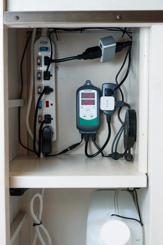 wiring in an aquarium stand
